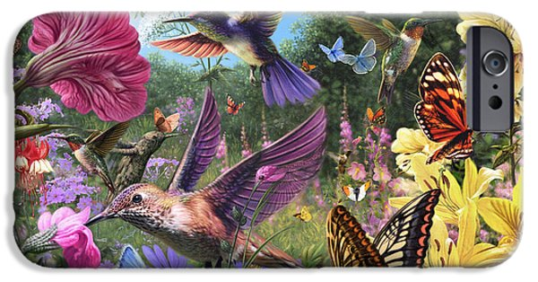 Harmonious iPhone Cases - The Hummingbird Garden iPhone Case by Steve Read