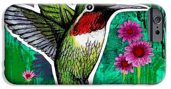 Fauna Drawings iPhone Cases - The Hummingbird iPhone Case by Genevieve Esson