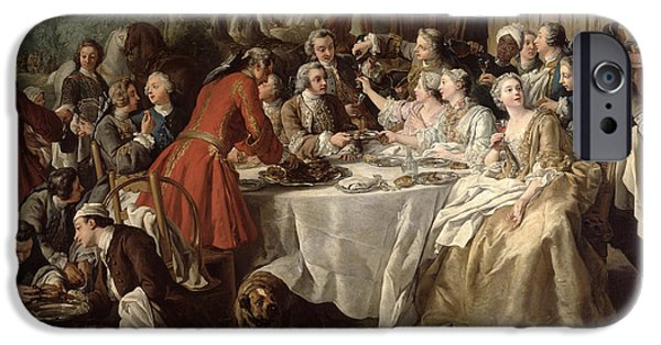 Table Wine iPhone Cases - The Hunt Lunch, Detail Of The Diners, 1737 Oil On Canvas iPhone Case by Jean Francois de Troy