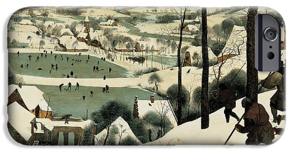 Dogs In Snow. Paintings iPhone Cases - The Hunters in the Snow iPhone Case by Jan the Elder Brueghel
