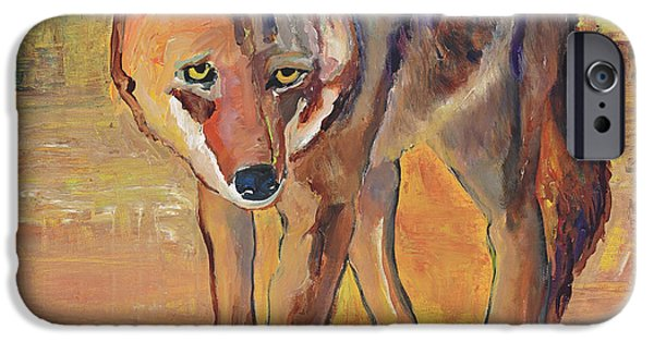 Coyote Art iPhone Cases - Coyote Hunting iPhone Case by Pat Saunders-White