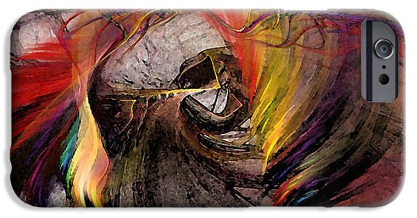 Abstract Landscape Digital Art iPhone Cases - The Huntress-Abstract Art iPhone Case by Karin Kuhlmann