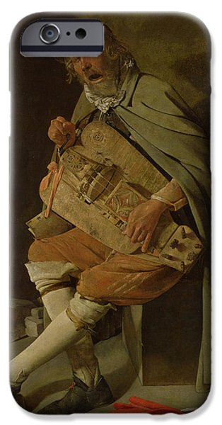 Begging iPhone Cases - The Hurdy Gurdy Player iPhone Case by Georges de la Tour