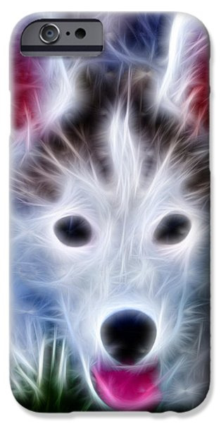 Puppy Digital iPhone Cases - The Huskie Pup iPhone Case by Bill Cannon
