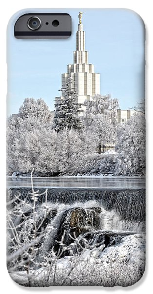 Angel Moroni iPhone Cases - The Idaho Falls Temple iPhone Case by Image Takers Photography LLC - Laura Morgan
