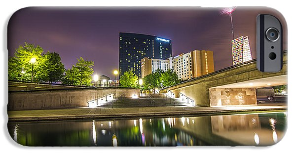 Indiana Rivers iPhone Cases - The Indianapolis JW Marriott Night Canal iPhone Case by David Haskett