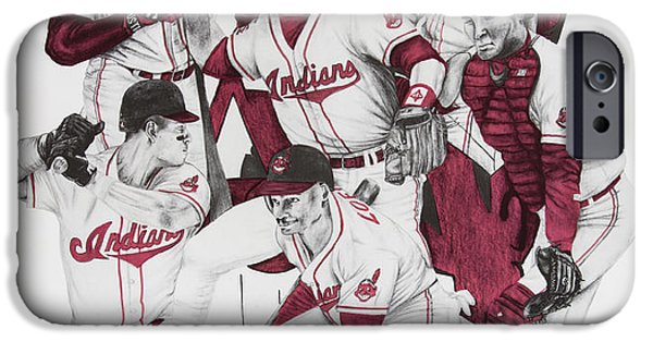 Baseball Uniform Drawings iPhone Cases - The Indians Glory Years-Late 90s iPhone Case by Joe Lisowski