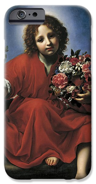 Wreath Paintings iPhone Cases - The Infant Christ with a Floral Wreath iPhone Case by Carlo Dolci