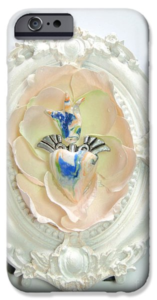 Magical Reliefs iPhone Cases - The inflamed rose heart iPhone Case by Heidi Sieber