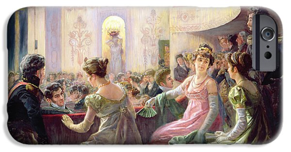 Costume iPhone Cases - The Interval At The Theatre Oil On Canvas iPhone Case by Charles Henry Tenre