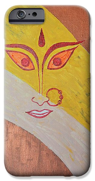 Goddess Durga iPhone Cases - The Invincible Goddess iPhone Case by Sonali Gangane