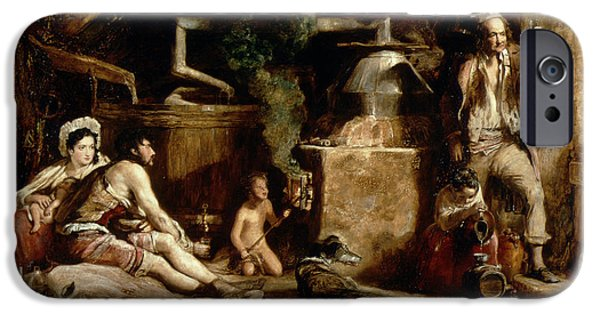 Manufacture iPhone Cases - The Irish Whiskey Still, 1840 Oil On Panel iPhone Case by Sir David Wilkie