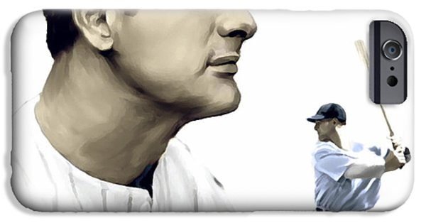 Fame Drawings iPhone Cases - The Iron Horse III    Lou Gehrig iPhone Case by Iconic Images Art Gallery David Pucciarelli