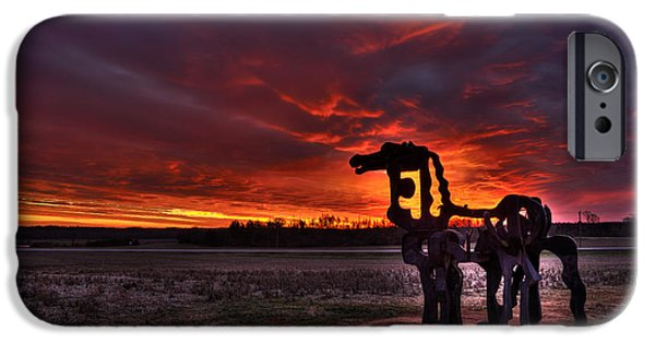 Constitution iPhone Cases - The Iron Horse Red Sky Sunset iPhone Case by Reid Callaway