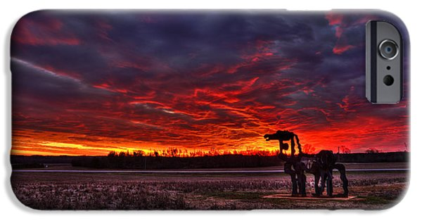Field. Cloud iPhone Cases - The Iron Horse Red Winter Sunset iPhone Case by Reid Callaway
