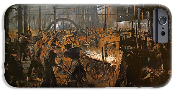 Industry iPhone Cases - The Iron-rolling Mill Oil On Canvas, 1875 iPhone Case by Adolph Friedrich Erdmann von Menzel