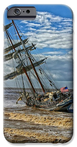Tall Ship iPhone Cases - The Irving Johnson Aground  iPhone Case by Mountain Dreams