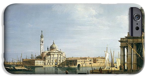 Custom House Tower iPhone Cases - The Island of San Giorgio Maggiore iPhone Case by Canaletto