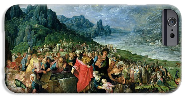 Escape iPhone Cases - The Israelites On The Bank Of The Red Sea, 1621 Oil On Canvas iPhone Case by Frans II the Younger Francken