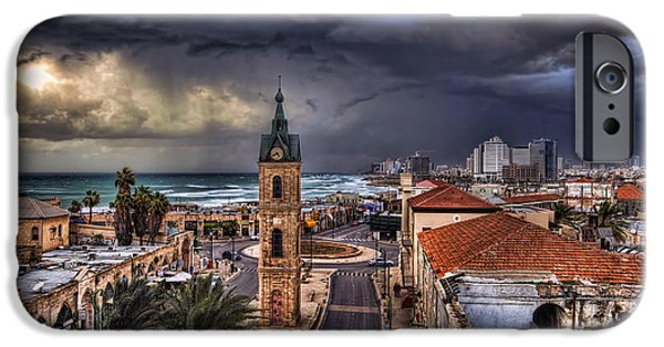 Winter Storm iPhone Cases - the Jaffa old clock tower iPhone Case by Ronsho