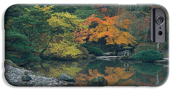 Green Foliage iPhone Cases - The Japanese Garden Seattle Wa Usa iPhone Case by Panoramic Images