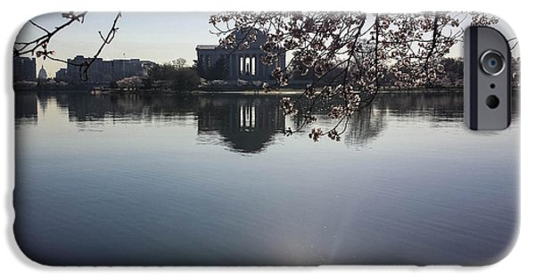 Washingtondc iPhone Cases - The Jefferson Memorial and the US Capitol Through the Cherry Blossoms iPhone Case by Debra Bowers