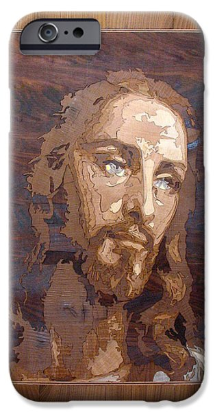 Jesus Reliefs iPhone Cases - The Jesus Christ Marquetry wood work iPhone Case by Persian Art