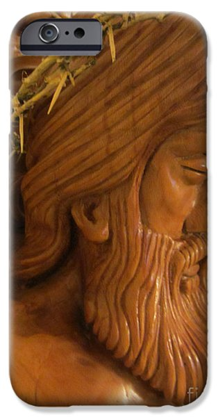 Relief Sculpture Reliefs iPhone Cases - The Jesus Christ Sculpture Wood Work Wood Carving Poplar Wood Great For Church 2 iPhone Case by Persian Art
