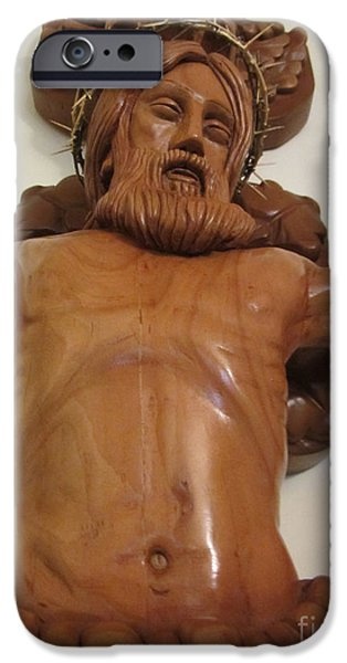 Jesus Reliefs iPhone Cases - The Jesus Christ Sculpture Wood Work Wood Carving Poplar Wood Great For Church 4 iPhone Case by Persian Art
