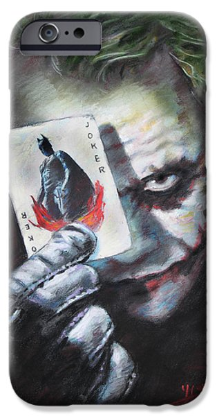 Dark Knight iPhone Cases - The Joker Heath Ledger  iPhone Case by Viola El