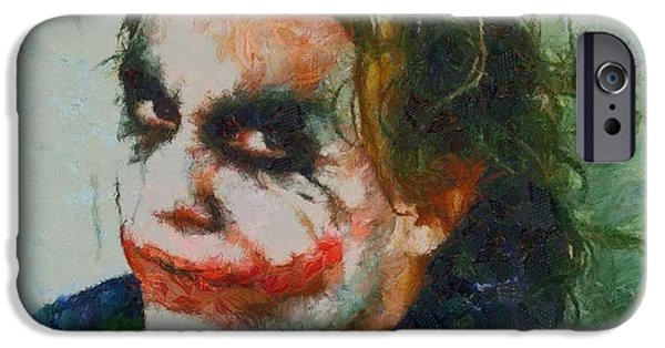 Ledger; Book iPhone Cases - The Joker Heath Ledger iPhone Case by Dan Sproul