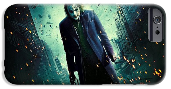 Ledger; Book iPhone Cases - The Joker Heath Ledger Dark Knight iPhone Case by Movie Poster Prints
