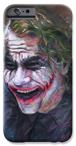 Cities Pastels iPhone Cases - The Joker Heath Ledger  sm iPhone Case by Ylli Haruni