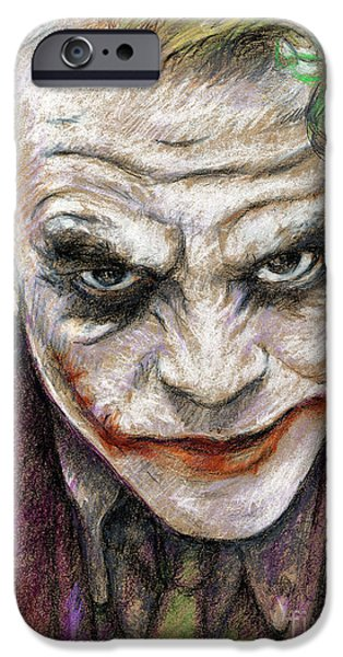 Etc. Drawings iPhone Cases - The Joker iPhone Case by Roy Aiuto