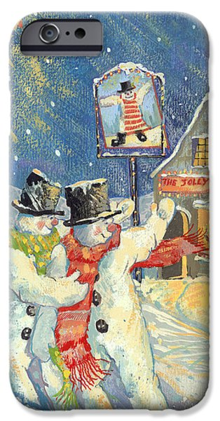 Pub iPhone Cases - The Jolly Snowman Gouache iPhone Case by David Cooke