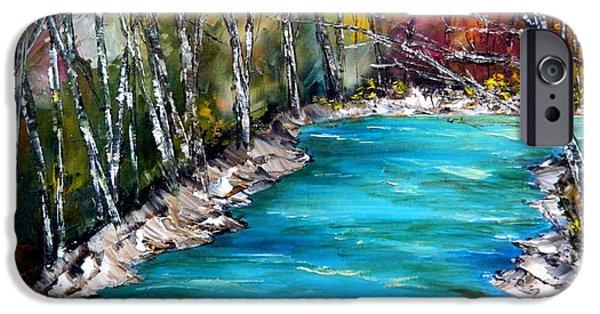 River Jordan Paintings iPhone Cases - The Jordan River iPhone Case by Linda Boss