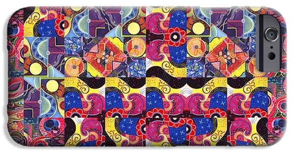 Women Together Mixed Media iPhone Cases - The Joy of Design Mandala Series Puzzle 3 Arrangement 8 iPhone Case by Helena Tiainen