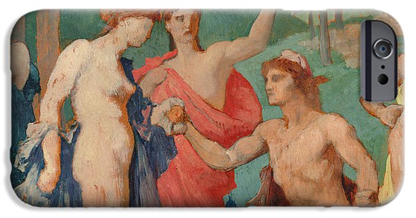 Robe Drawings iPhone Cases - The Judgement of Paris iPhone Case by Jules Elie Delaunay