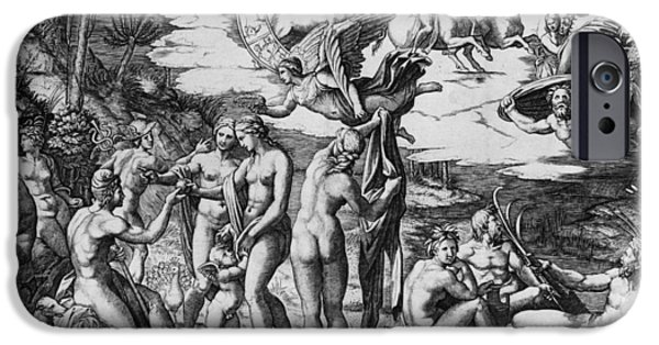 The Sun God iPhone Cases - The Judgement of Paris iPhone Case by Marcantonio Raimondi