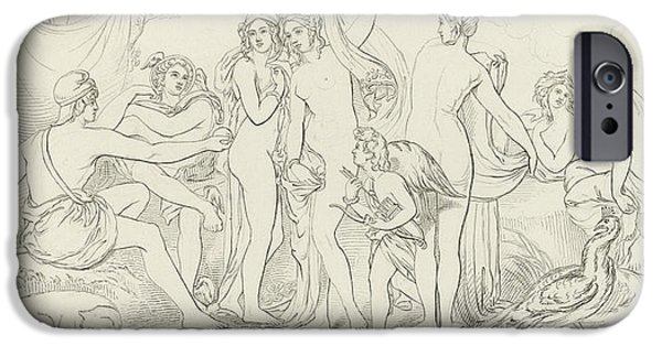 19th Century Drawings iPhone Cases - The Judgement of Paris iPhone Case by William Etty