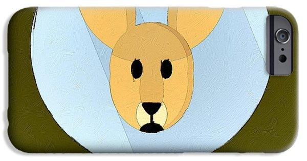Kangaroo Digital Art iPhone Cases - The Kangaroo Cute Portrait iPhone Case by Florian Rodarte