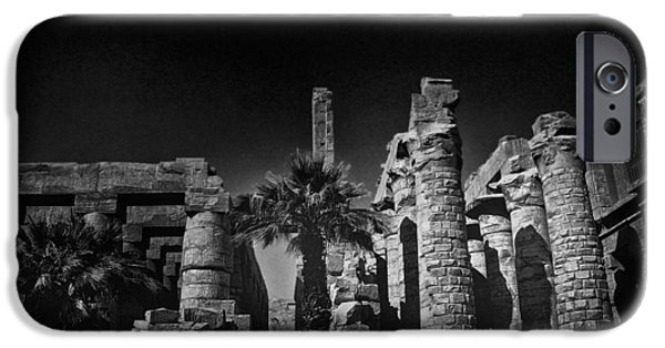 Thebes iPhone Cases - The Karnak Temple BW iPhone Case by Erik Brede