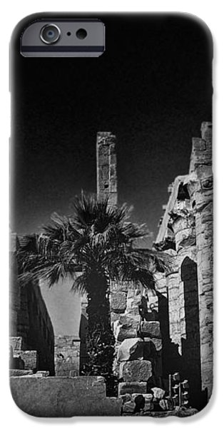 The Karnak Temple BW iPhone Case by Erik Brede