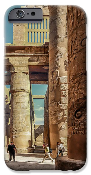 Thebes iPhone Cases - The Karnak Temple iPhone Case by Erik Brede