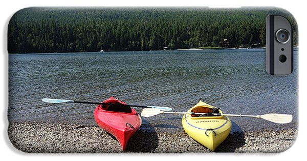 Canoe iPhone Cases - The Kayaks Are Ready iPhone Case by Nina Prommer