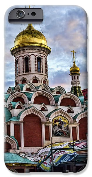 St John The Russian iPhone Cases - The Kazan Cathedral - Red Square - Moscow Russia iPhone Case by Jon Berghoff