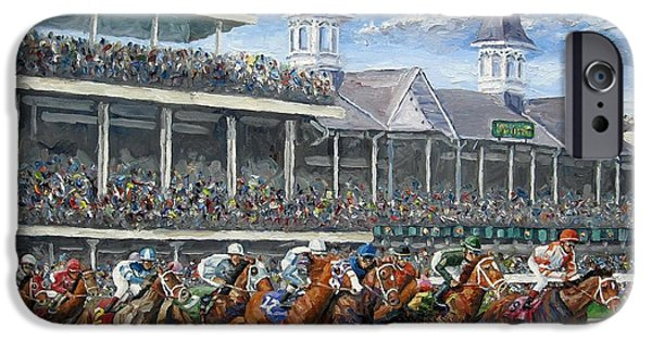 Race Horse Paintings iPhone Cases - The Kentucky Derby - Churchill Downs iPhone Case by Mike Rabe