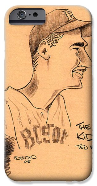 Red Sox Drawings iPhone Cases - The Kid - Ted Williams iPhone Case by Ben De Soto