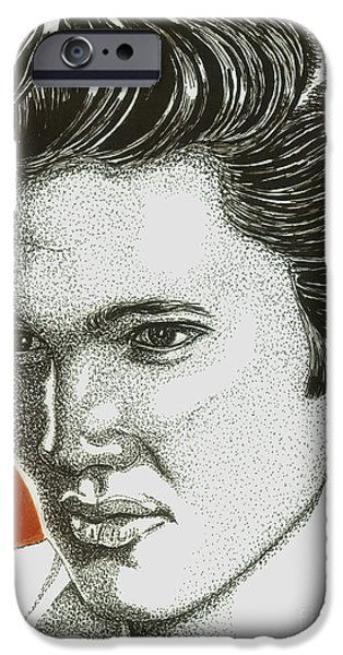 Music Drawings iPhone Cases - The King iPhone Case by Cory Still