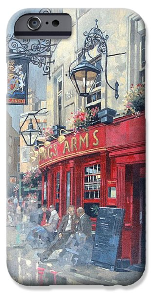 Public iPhone Cases - The Kings Arms, Shepherd Market, London Oil On Canvas iPhone Case by Peter Miller
